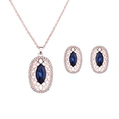8892 New Fashion 18k Yellow Gold Plated Hollow Blue Clear Austrian Crystal Pendant Necklace Earrings Chain Jewelry Sets