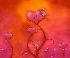 """Heart Art"" in Pink and Orange"