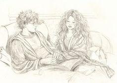 I always like Harry/Hermione while reading (fan art) fan art by stefynik Harry Potter Artwork, Harry Potter Illustrations, Harry Potter Ships, Harry Potter Drawings, Harry Potter Fandom, Harry Potter Hermione Granger, Harry And Hermione, Hogwarts, Slytherin