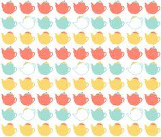 teapots on white fabric by oleynikka on Spoonflower - custom fabric