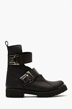 When Buckled Moto Boot in Black