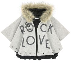 Cotton knit  False fur Long synthetic fur Soft lining Pleasant to the touch Warm item Perfect to protect from the cold Large hood Loose fit Snap buttons under the arms Hook fastening Fancy eyelets Sequined print - $ 88