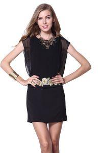 Black Batwing Sleeve Back Zipper Embroidery Dress