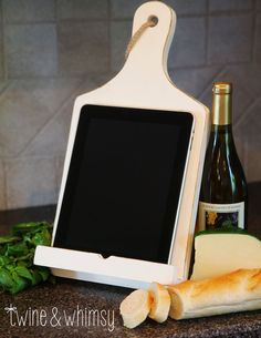 Rustic Tablet Or Cookbook Stand, Cutting Board Style