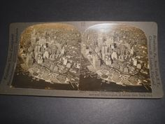 Stereoview  Airplane view of  Skyscrapers of Lower New York      26294