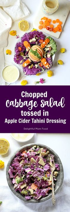 Savoy purple cabbage beautifully chopped and dressed in an apple cider tahini dressing. This salad has all the digestive gut-healing properties you need to start off the month!
