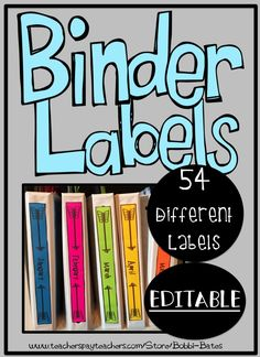 54 Different Binder and Spine Covers THESE ARE ALSO EDITABLE!!! I print mine on bright pages!