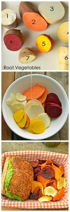 This Motivation : Root Veggie Chips! These are crispy and good for you!superhealthyk is a better for your dinner made with wh. No Cook Appetizers, Appetizer Recipes, Bruchetta Recipe, Pilsbury Recipes, Actifry Recipes, Snacks Saludables, Dehydrator Recipes, Dehydrator Potato Chips, Tapas
