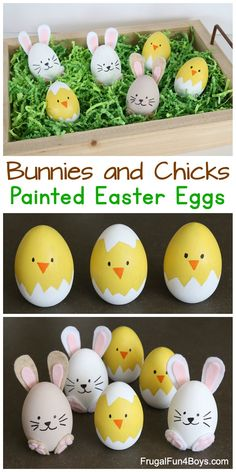 How to Make the Cutest Bunny and Chick Painted Easter Eggs - Adorable Spring Craft! egg decorating How to Make the Cutest Bunny and Chick Painted Easter Eggs - Frugal Fun For Boys and Girls Easter Activities For Kids, Spring Crafts For Kids, Stem Activities, Summer Crafts, Instruções Origami, Easter Egg Designs, Coloring Easter Eggs, Easter Crafts For Kids, Easter Decor