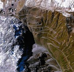 Fabbrica della Bici: rollersinstinct:   The Stelvio Pass photographed by Daily Overview and published in The Guardian. The road and its 75 hairpins is commonly used by the Giro d'Italia