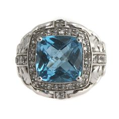 Victoria Wieck 5.98ct Swiss Blue Topaz & White Topaz Frame Ring Size 6 #VictoriaWieck #SolitairewithSideAccent