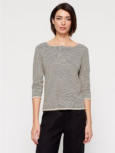 Square Neck Top in Organic Linen Cotton Slub Stripe