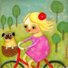 Bicycle ride with PUG dog PRINT of original painting by tascha. $15.00, via Etsy.