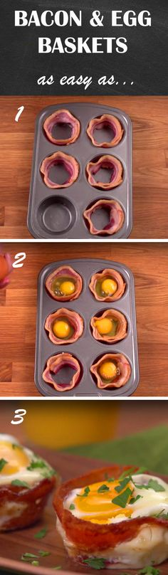 Bacon & Egg Baskets Recipe | Here's a fun way to prepare bacon and eggs that will earn you bonus points for presentation. And all you need is a muffin tin to make it happen! Click for the short how-to.