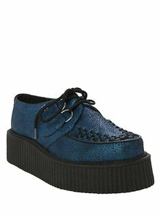 T.U.K. Blue Suede Crackled Mondo Creepers   Hot Topic