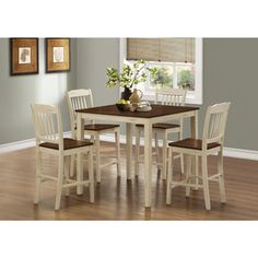 Antique White/ Walnut 5-piece Counter Height Dining Set - Overstock™ Shopping - Big Discounts on Dining Sets