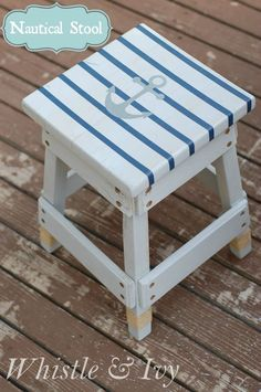 Gray White-Washed Nautical Striped Stool - $5 stool given a fun nautical makeover! {Whistle and Ivy}