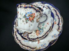 Tuscan china tea trio - c1895