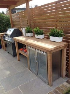 Outdoor kitchens can be a great addition to your home.Outdoor kitchens can be a great addition to your home.Best DIY outdoor kitchen ideas and designs wonderful outdoor kitchen design ideas in the backyard - Backyard Kitchen, Outdoor Kitchen Design, Outdoor Bbq Kitchen, Outdoor Kitchen Cabinets, Out Door Kitchen Ideas, Small Outdoor Kitchens, Diy Patio Kitchen Ideas, Outdoor Mini Fridge, Kitchen Floor