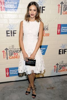 Stand Up To Cancer event, LA – January 28 2014 | Jessica Alba wore a custom-made Ralph Lauren Collection white leather dress with Jimmy Choo spring/summer 2014 sandals and a M2Malletier clutch