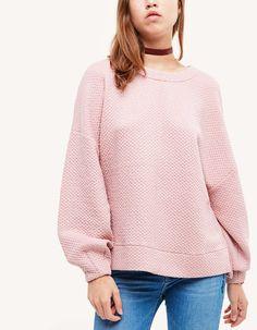Jacquard sweatshirt with back buckle detail - Sweatshirts | Stradivarius United Kingdom