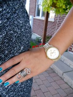 blue nails, silver ring, MK watch