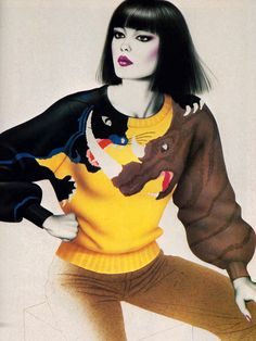 Krizia, American Vogue, February 1983. Illustration by Harumi.