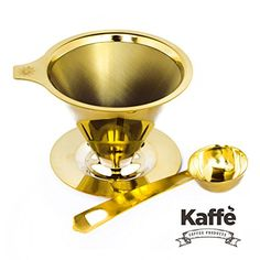 Kaffe Products Reusable Coffee Filter Stainless Steel Cone Dripper with Builtin Stand and Coffee Scoop ** Click image to review more details.
