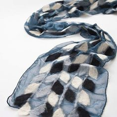 Blue-gray silk chiffon scarf with bright merino vines and leaves in shades of gray, blue and white. Spot clean only. From theredsari.com