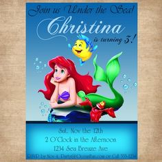 Disney Princess The Little Mermaid Birthday Party Invitation - Featur | TEnglishPhotography - Paper/Books on ArtFire
