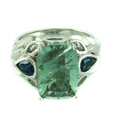 Victoria Wieck Fluorite London Blue Topaz & White Concave Cut Ring 8 547T #VictoriaWieck #Solitaire