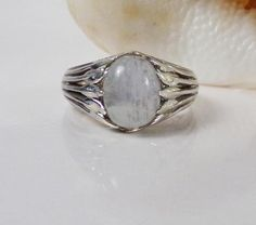 Designer Sterling Silver 925 Vine Ivy Rainbow Moonstone Gemstone size 8 Ring #STS #Solitaire #Christmas