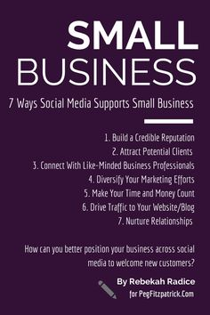 7 Ways Social Media Support Small Business http://pegfitzpatrick.com/2014/09/29/7-ways-social-media-supports-small-business/