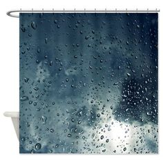 Water Droplets Shower Curtain Rainy Shower By XOnceUponADesignx