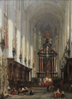 David Roberts - The Interior of St Paul's Antwerp. Browse Richard Taylor Fine Art for quality - century paintings. Catholic Art, Religious Art, Great Paintings, Historical Art, Classical Art, Landscape Illustration, Sacred Art, Ancient Art, Architecture Art