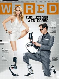 Aimee Mullins and Prof Hugh Herr on the cover of Italian Wired.