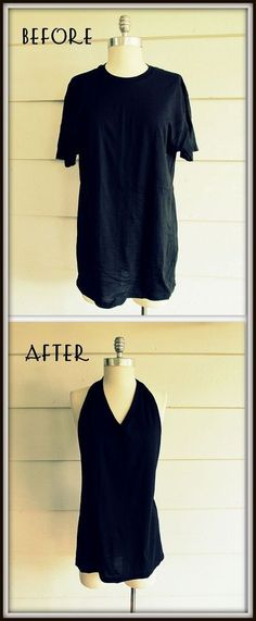 DIY Clothes Refashion: DIY No Sew, Tee Shirt- Tied Halter Just did this on one of my bus t shirts and it worked out great. Diy Clothing, Sewing Clothes, Clothes Refashion, T Shirt Refashion, Sewing Shirts, Diy Kleidung, Diy Vetement, Refashioning, Diy Shirt