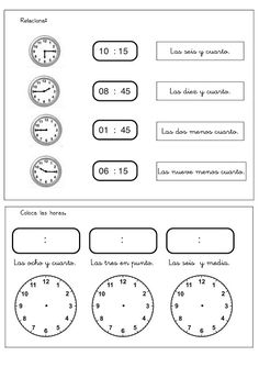 04elreloj Elementary Spanish, Spanish Class, Teaching Spanish, Spanish Lesson Plans, Spanish Lessons, Telling Time In Spanish, Spanish Worksheets, English Resources, Math Class