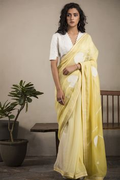 Yellow & Ivory Saree Set