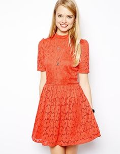 Buy ASOS Women's Orange Skater Dress in Lace with High Neck. Latest Fashion Clothes, Fashion Dresses, Style Feminin, Lace Dress, Dress Up, Asos, Couture Dresses, Occasion Dresses, Skater Dress