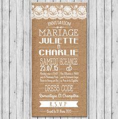 faire-part mariage programme champetre chic dentelle rustique …