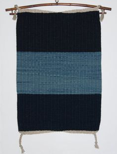 Hand Dyed Hand Woven Rug or Wall Hanging Navy Blue and Light Blue