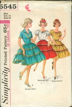 Simplicity Sewing Pattern 5545 Misses Bohemian One Piece Dress Blouse and Skirt