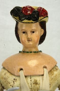 Antique Rare Early German Milliners Paper Mache Doll ca1860-1870