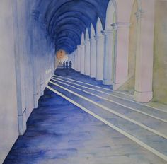 Zuilengang Italië - aquarel Stairs, Watercolor, Home Decor, Pen And Wash, Stairway, Watercolor Painting, Decoration Home, Room Decor, Staircases