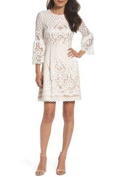 482bb1a0db Eliza J Bell Sleeve Lace Fit   Flare Dress (Regular   Petite)