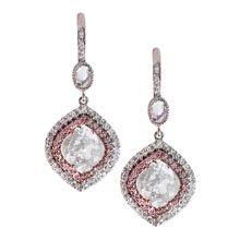 Vivaan - Grey, Pink and White Diamond Slice Earrings