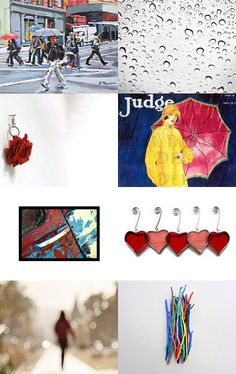 """This fun treasury, titled """"Every Path Has Its Puddles!"""" by jannio features my """"Grunge Girl Loves the Rain"""" print!  --Pinned with TreasuryPin.com"""
