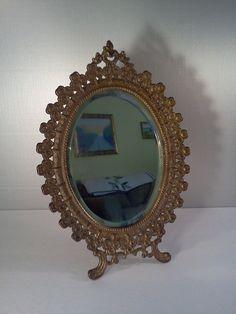 Oval Beveled Mirror Antique Mirror Ornate by WeeLambieVintage, $110.00