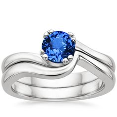 18k white gold sapphire sea crest matched ring set